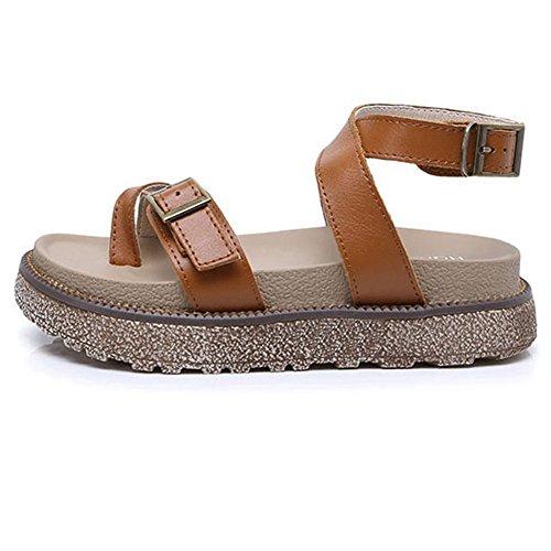 Cybling Women Girls Flatform Sandals Summer Dikke Peep Toe Dikke Zool Romeinse Flats Bruin