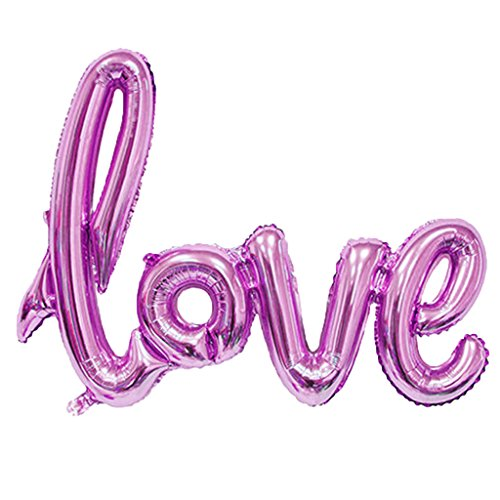 Oranmay Letter Love Aluminium Foil Balloon for Birthday Wedding Valentines Party Decor (Pink)
