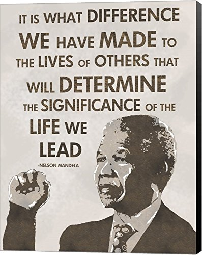 Nelson Photo Mandela (The Life We Lead - Nelson Mandela by Veruca Salt Canvas Art Wall Picture, Museum Wrapped with Black Sides, 9 x 12 inches)