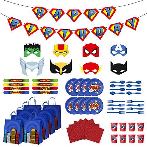 Superhero Party Supplies - Superhero Birthday Party Favors Set - Felt Masks for Kids - Slap Bracelets - Favor Bags - Banner & Decorations - Plates Cups Napkins Silverware