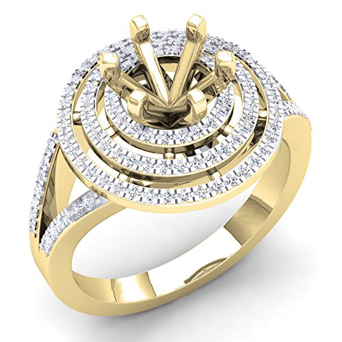 0.35 Carat (Ctw) 10K Yellow Gold Round White Diamond Semi Mount Bridal Engagement Ring 1/3 CT (Size 4.5) (Yellow Gold Engagement Ring Mounting)