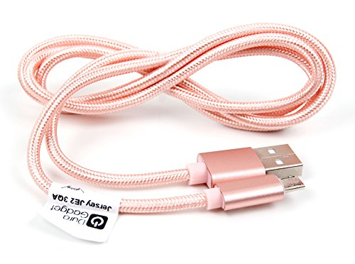 DURAGADGET Rose Gold Micro USB Data Sync Cable - Compatible with The Ecandy Wireless Over-Ear Stereo Headphones