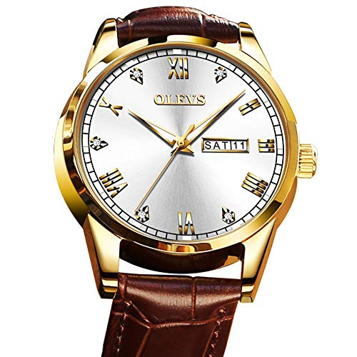 Men's Watches Day and Date,Wrist Watches for Men on Sale Waterproof Quartz Analog Watch Mens Brown Leather Band Business Casual Watch,Male Rose Gold Wrist Watch with Calendar,Dress Watches for Men