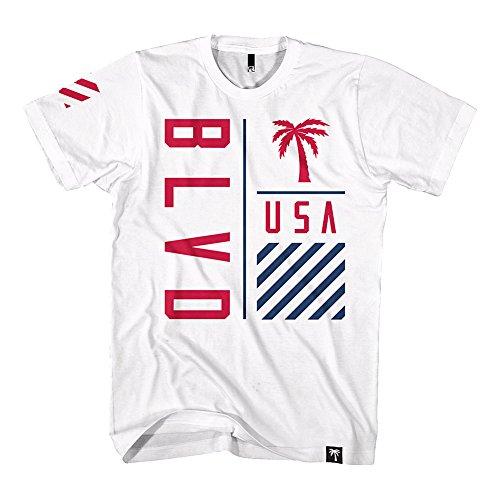 BLVD Supply Men's On Point USA SS T Shirt White