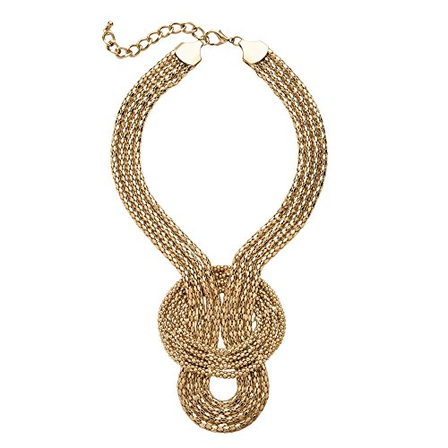 Palm Beach Jewelry Yellow Gold Tone Snake-Link Draping Multi-Strand Rope Necklace 16""