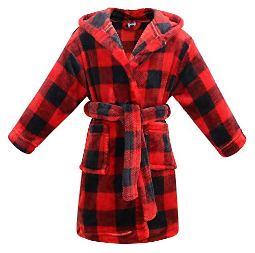 Arctic Paw Kids Boys Girls Children Animal Theme Pool Cover up,Red Black Plaid,M