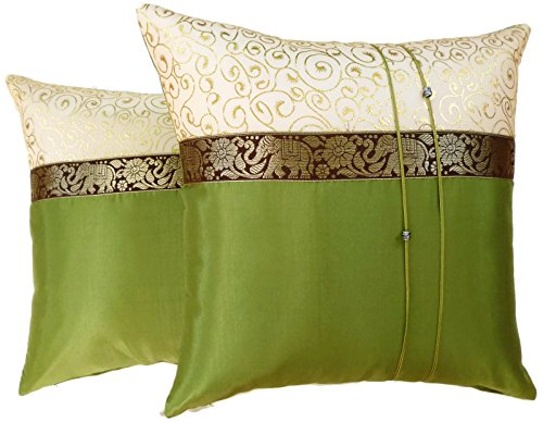 Set of Two Cypress Green Silk Throw Cushion Cover Pillow Case With Elephant Middle Stripe for Decorative Living Room Sofa Car Size 16 x16 Inches