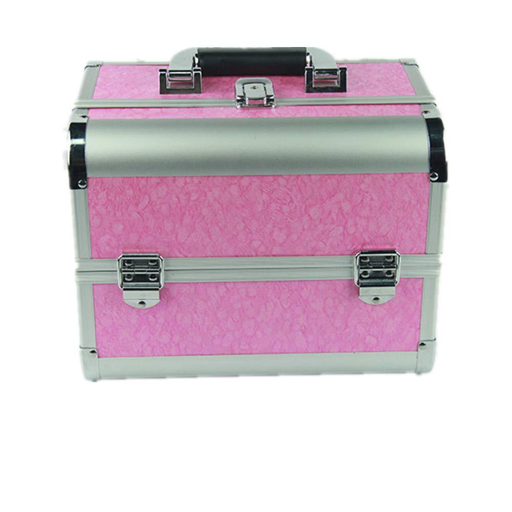 化粧オーガナイザーバッグ ポータブルスモールメイクアップトレインケース化粧品ケースのための丈夫なアルミフレームロックとスライディングトレイ 化粧品ケース B07PPFHT62