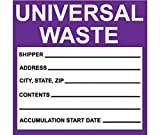 National Marker Corp. HW30ALV Labels, Hazardous Materials Shipping, Universal Waste, 6 Inch X 6 Inch, PS Vinyl, 500/Roll