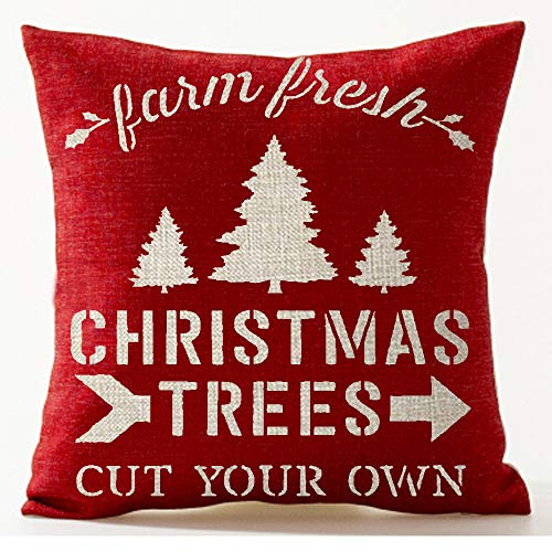 "Queen's designer Farm Fresh Christmas Trees Cut Your Own Cotton Linen Home Decorative Throw Pillow Case Cushion Cover Square 18"" X18 (Ae)"