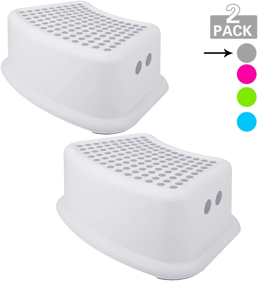Step Stool for Kids (2 Pack), Toddlers Stool for Potty Training, Bathroom, Kitchen, Bedroom, Toy Room and Living Room. Toilet Stools with Soft Anti-Slip Grips for Safety, Stackable (Grey)