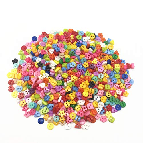 - Mixed 6mm Mini Tiny Buttons Heart Flower Star Resin Round Sewing Doll Clothes Button Embellishments Scrapbook Cardmaking Pack of 1000