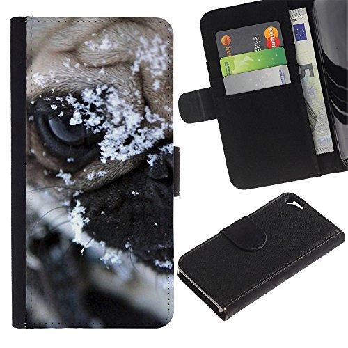 LASTONE PHONE CASE / Luxe Cuir Portefeuille Housse Fente pour Carte Coque Flip Étui de Protection pour Apple Iphone 5 / 5S / Pug Snow Winter Pet Canine Dog