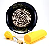 All-in-one Ceramic Garlic Grater set by- CA primeproducts - Black Garlic design with Garlic Peeler, Kitchen Brush, and BONUS Display Stand!