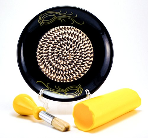 All-in-one Ceramic Garlic Grater set by- CA primeproducts - Black Garlic design with Garlic Peeler, Kitchen Brush, and BONUS Display ()