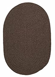 Solid Braided Wool Area Rug Runner 2ft. x 6ft. Oval Bark Simple Soft Carpet