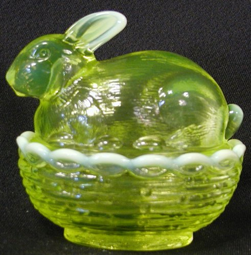 "4"" Vaseline Opalescent Bunny on Wooven Nest Double Glass Dish"
