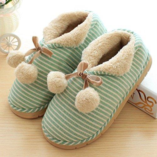 Aemember Bolsa zapatillas de algodón grueso con parejas en invierno Home Furnishing encantadores interiores zapatillas Anti-Skid macho, 36-37 (adecuado para 35-36),la bola (verde). 36-37 (suitable for 35-36) Ball (green)