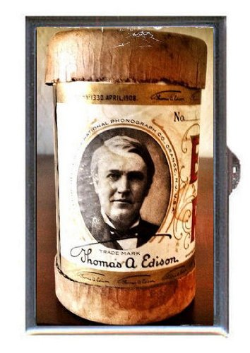 1907 Thomas Edison Gold Moulded Wax Cylinder, Guitar Pick or Pill Box USA Made Moulded Cylinder