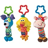 Playgro Tinkle Trio on the Go, With squeaking, rattling and tinkling Noises, From 0 Months, Multicoloured, 40193