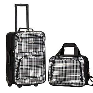 Rockland Fashion Softside Upright Luggage Set, Black Plaid, 2-Piece (14/19)
