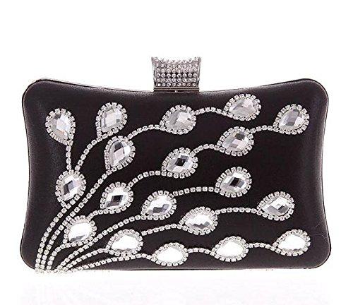 Moda Bolso De Noche Diamante Con Taladro De Vidrio Paquete De Banquete Europa Y Estados Unidos Tecnología Bolso De Mano Black