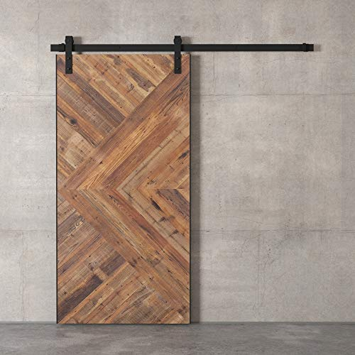 """Farmhouse Woodcraft 96"""" x 42″ Natural Brown and Silver Modesto Sliding Wood Barn Door"""