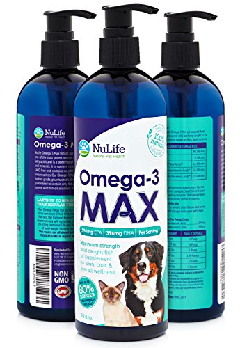 NuLife Natural Pet Health - Max Strength Omega 3 For Dogs And Cats - 80% More EPA & DHA Per Serving - Wild Caught Fish Oil Supplement For Pets - Improves Skin, Coat, Joint & Heart Health - 16oz Liquid (Natural Pet Omega 3)
