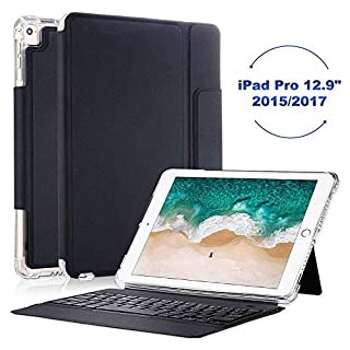 iPad Pro 12.9 Case with Keyboard 2017/2015- Smart Keyboard Folio for iPad Pro 12.9 1st & 2nd Gen,Shockproof Keyboard Case for iPad Pro 12.9 Inch,iPad Pro 12.9 Keyboard Case with Pencil Holder,Black