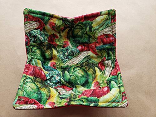 Vegetable Microwave Bowl Cozy Gardener Reversible Microwaveable Potholder Tomato Corn Cabbage Bowl Holder Garden Kitchen Linens Plant Food Ag Teacher 4H Gifts Under 10 Veggies Summer Plants
