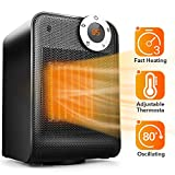 TRUSTECH Portable Space Heater, Adjustable Thermostat, 1500W, Overheat & Tip-Over Protection, Oscillation Function Office Home Use, 12H Timer, Digital Display, Black Ceramic