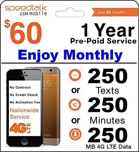 Amazon.com: 1 año tarjeta de GSM SIM prepago – Mensual 250 ...