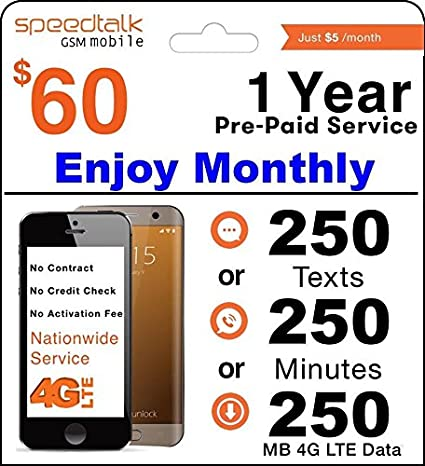 1 Year Prepaid GSM SIM Card - Monthly 250 Talk 250 Text Or 250MB Data Txt No Contract 12 Months Plan