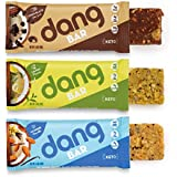 Dang Bar - KETO CERTIFIED, Low Carb, Plant Based, Gluten Free, Real Food Snack Bar, 2-3g Sugar, 4-5g Net Carbs, No Sugar Alcohols or Artificial Sweeteners, 12 Count (3 Flavor Variety Pack)