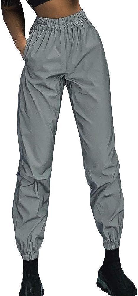 Pantalones Reflectantes para Mujer - Reflectantes - Reflectantes - Brillantes - Alta Visibilidad - Trotar - Deportes - Deportes - Ropa de Calle - Hip Hop - Color Gris