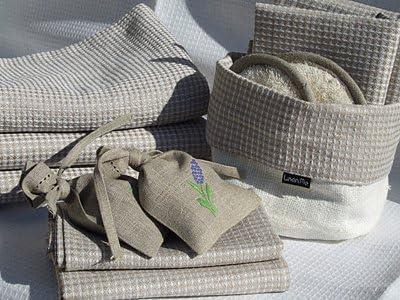 Badetuch Natur Beige Leinen Baumwolle Karo