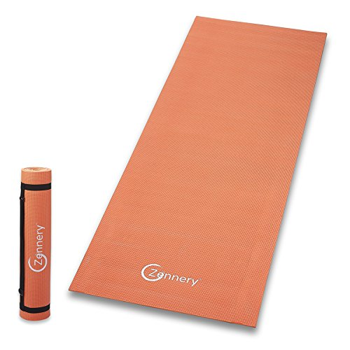Cheap Zennery Non-Slip Yoga Mat with Adjustable Carrying Strap (Orange)