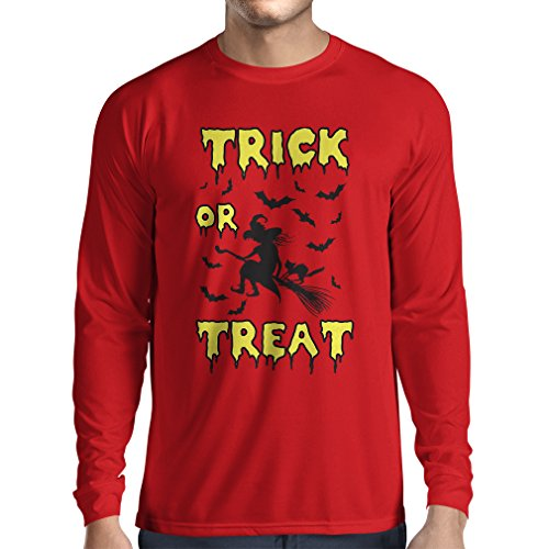 lepni.me Long Sleeve t Shirt Men Trick or Treat - Halloween Witch - Party outfites - Scary Costume (Small Red Multi -