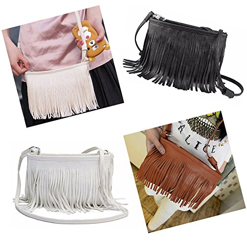 Crossbody Fashion Handbag Messenger Satchel Faux Catnew Tote Bag Clutch Shoulder Women Girl Black Leather Tassels HxwqBPda