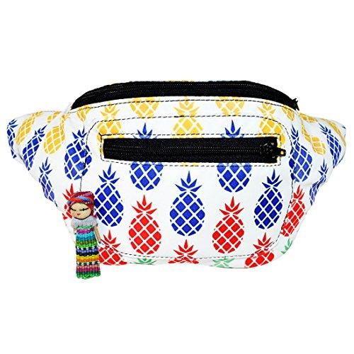 Funky Pineapple Fanny Pack, Stylish Party Boho Chic Handmade Hidden Pocket (Rainbow Pineapples) by Santa Playa