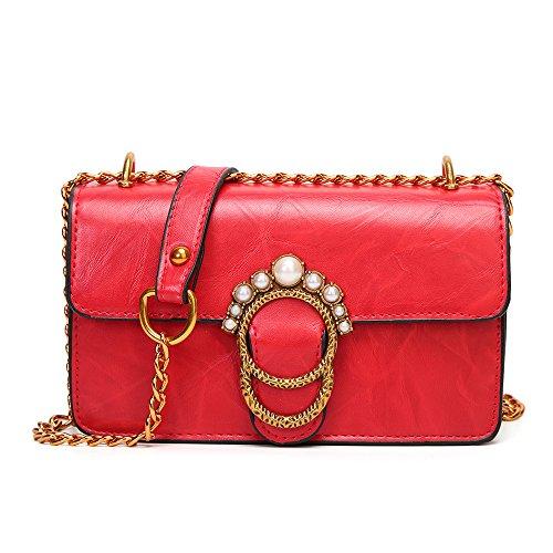Satchels Bag Femmes Crossbody Pour Boucle élégante ASDYY Serrure Red En Lady BagPU Cuir 8Aq4gSw
