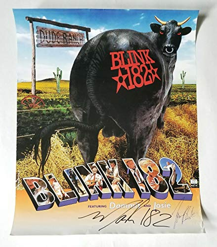 Blink-182 REAL early hand SIGNED 16x20 Dude Ranch promo poster COA by Mark & Tom (Blink 182 All The Small Things Rock Band)