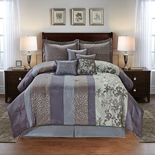 Leaves Jacquard 7PC Comforter Set - Purple Multi Colors ()
