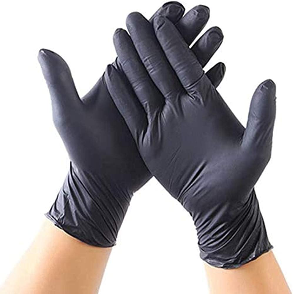 20 Pcs Disposable Latex Gloves For Home Cleaning Food/Rubber/Garden Gloves Universal For Left and Right Hand-Black