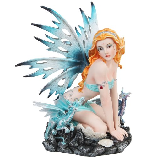 Blue Ice Fairy Sitting with Baby Dragons Mystical Statue Figurine - Mystical Dragon