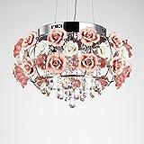 Korean pastoral ceiling lamp crystal chandelier rose white flowers ceramic living room lights bedroom bedroom restaurant lights TA0125PY11 ( Size : D55cm )
