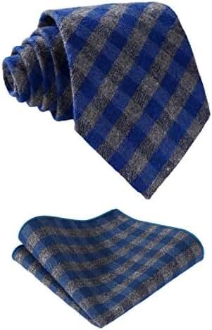 HISDERN Men's Cotton Plaid Necktie Set