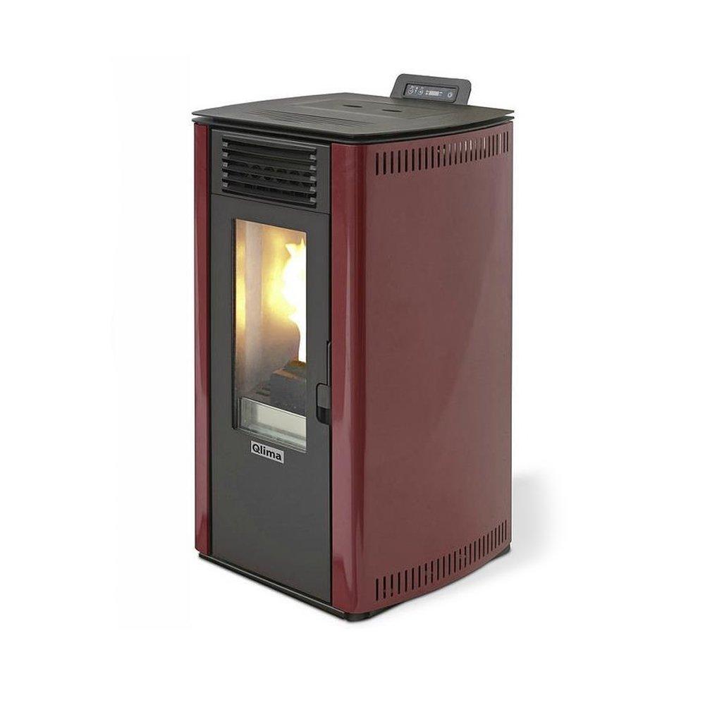 Qlima Estufa a PELLAS 8,24 kW roja + Mando a distancia Calefacción Casa Eleonora 74: Amazon.es: Hogar