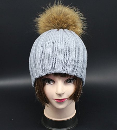 YHC Children Kinder Warm Winter Wool Wolle Knit Beanie Raccoon Fur Pom Bobble Hat Hut Crochet Ski Cap Colour Grey