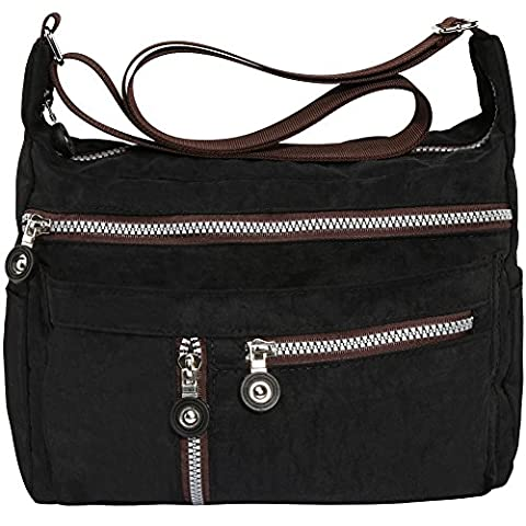 Zbeibei Women's Nylon Shoulder Bags Crossbody Messenger Bags Casual Travel Handbag(601,Black )